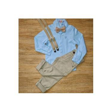 Conjunto Social Batizado Menino Azul bebê/bege