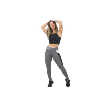 Imagem de Cropped e Calça Legging Fitness Feminino Preto com Bolso GR Esporte