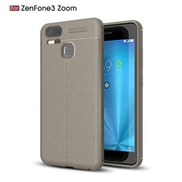 Capa para Asus Zenfone 3 Zoom ZE553KL com estampa Litchi e capa traseira ultrafina TPU cinza