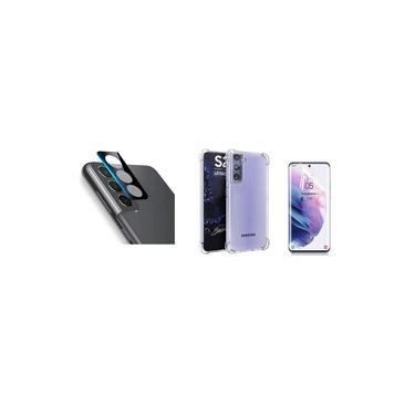 Capa Reforçada + Película De Nano Gel + Película Lente Câmera Samsung Galaxy S21+ Plus Tela 6.7 Polegadas