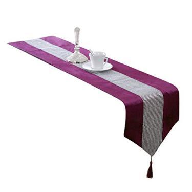 Imagem de interjunzhan Toalha de mesa listrada com franjas, capa de mesa, decoração de refeição de férias, jantares de família, roxo