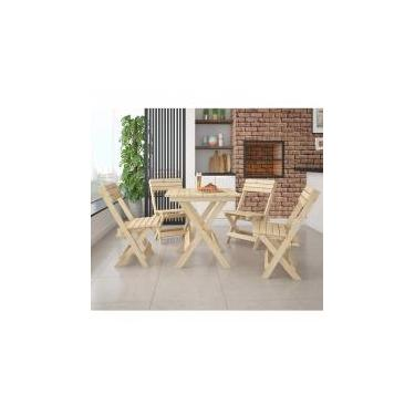 Conjunto Mesa Dobrável 4 Cadeiras Siena Móveis Madeira Maciça -