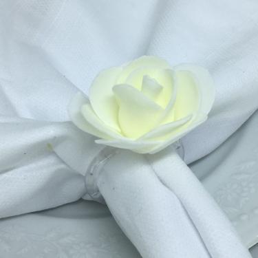 Imagem de Porta Guardanapo Botão de Rosa EVA (Branco Neve) - 4 unidades