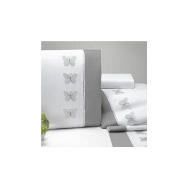 Jogo de Cama Queen Papillons 4 Peças 200 Fios Percal Casaborda Branco -