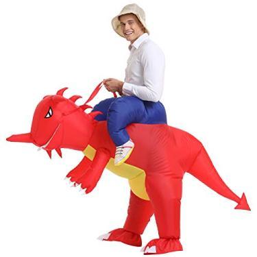 Imagem de Fantasia de dinossauro inflável YEAHBEER T-Rex vestido chique fantasia de Halloween adulto (fantasia inflável)