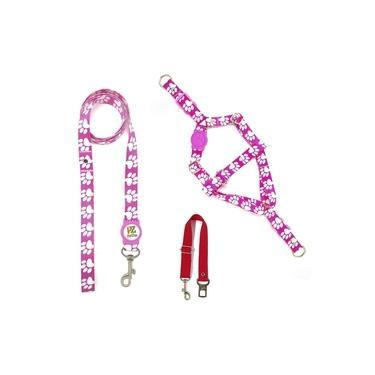 Kit Peitoral, Guia e Cinto de Segurança para Cachorros - Tamanho Pequeno - Modelo Patinha Rosa