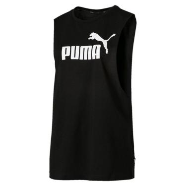 Regata Puma Essentials+ Cut Off Tank Feminina 854885-01, Cor: Preto/Branco, Tamanho: GG