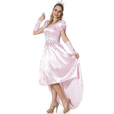 Imagem de Fantasia Princesa Aurora Bela Adormecida Adulto Feminina Com Tiara e Luva GG 48-50