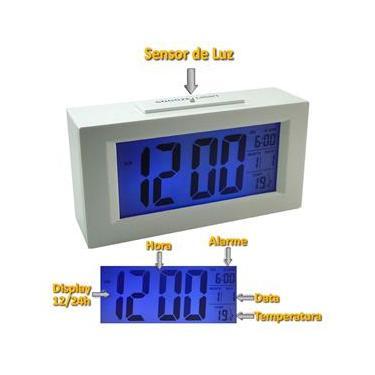 fe6dc3355e5 Relógio Mesa Digital Data Hora Temperatura sensor luz BRANCO CBRN01590