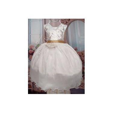 285a0fa03 Vestido De Festa Infantil Branco Daminha Batizado