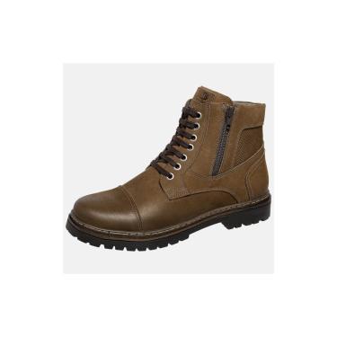 Bota Coturno Em Couro Mega Boots Chumbo  masculino
