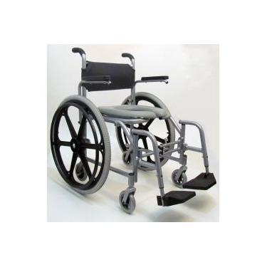 Imagem de Cadeira de banho Compacta Banho Aluminio Dobrável rodas traseiras grandes com aro de impulsao Smart