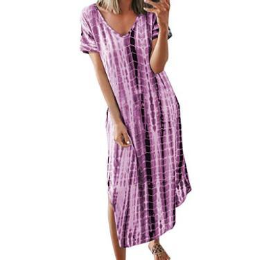 Vestido longo feminino boêmio, manga curta, casual, gola V, tie dye, fenda lateral, vestido longo solto, Roxa, S