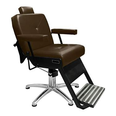 Cadeira de Barbeiro Reclinável Monza Pé Pentapé - Café