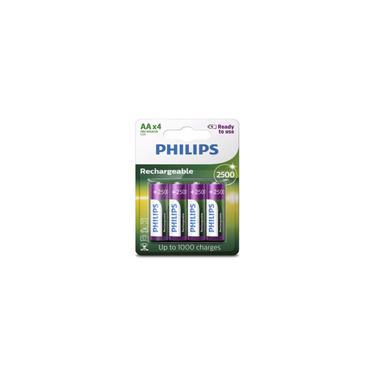 4 Pilhas Recarregável Philips Aa 2500mah Hr6 Mignon 1,2v