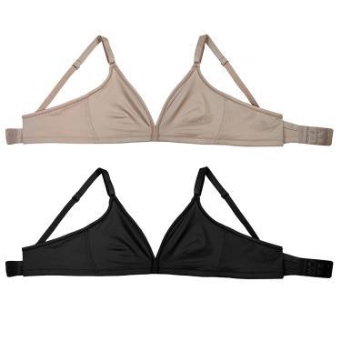 Imagem de kit com 2 soutiens, Bojo moldado, alças reguláveis e fecho nas costas, Feminino, Delrio, Mousse E Preto, 46