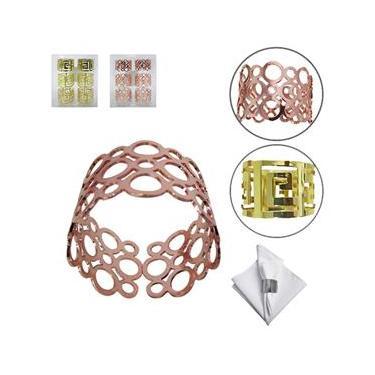 Porta Guardanapo  Redondo  Dourado / Rose Kit Com 6 Pecas