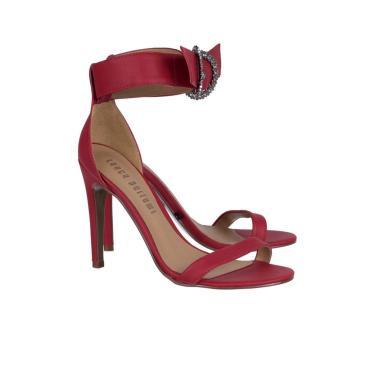 Sandália Tira Única com Metal Lança Perfume Sandalia Vermelho  feminino