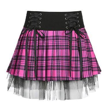 Saia gótica plissada sexy roxa cintura alta mini saia xadrez com cadarço, Z-purple Skirt, L