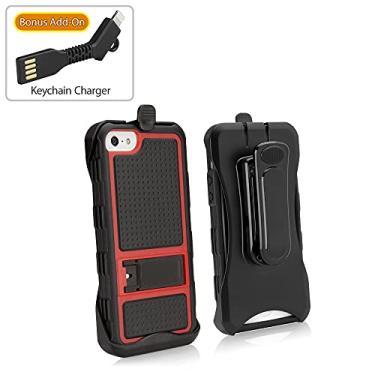 Capa para iPhone SE, BoxWave [Capa ativa com carregador de chaveiro bônus] Capa coldre com capa protetora e suporte para Apple iPhone SE, 5s, 5 – Vermelho Adamant