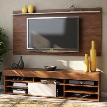 Imagem de Rack com Painel para TV Até 55 Polegadas 1 Porta Jhon Seda/Off White -