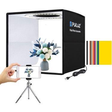 "Imagem de Foto Studio Light Box 9.8""/25cm Portátil Folding Ring Light, Fotografia Shooting Light Tenda Brightness Lighting Kit Softbox com 96pcs LED Light +12 Cores Cenário Removível"