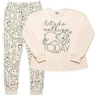 Pijama Feminino Infantil Pulla Bulla Ref. 42704 Cor:Creme;Tamanho:10
