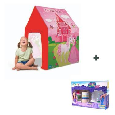 Imagem de Tenda Infantil Castelo Encantado + Areia Mágica 800G Brilho Bangtoys M