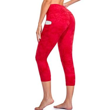 Oalka Calça legging feminina para ioga, corrida, Outside Pockets Tie Dye Red, Large