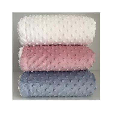 Cobertor Donna Bebê Plush com Sherpa Dots Branco
