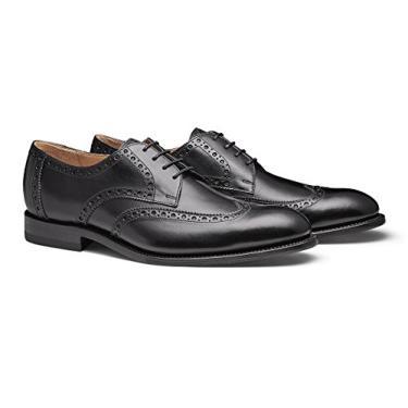 Moral CODE The Holden: Sapato social masculino de couro feito à mão com ponta de asa, Black Leather, 11.5
