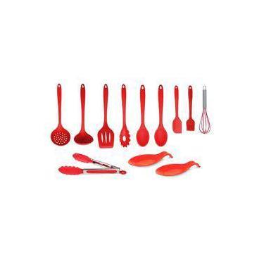 kit 12 colheres de silicone maciço Vermelho Utensílios de Cozinha Sup. Altas Temp.