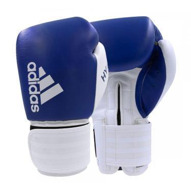 Luva De Boxe Muay Thai Adidas Hybrid 200 Azul/Branco 18 Oz