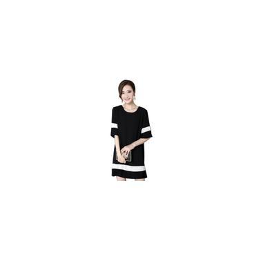 RainmallLoose Women Estilo manga curta Vero Vestido camisa Casual Costura Vestido Cor