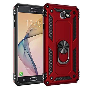 Capa Samsung Galaxy J7 Prime Case Protetor Material militar TPU macio +couro de PC proteção dupla camada de metal magnético para carro Suporte 360 graus girado anti-queda e anti-riscos capa:Vermelho