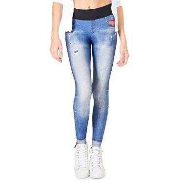 Calça Legging Live Athletic Jeans Tecno Feminina - Azul - P