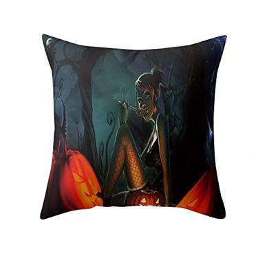 Imagem de SL&LFJ Capa de almofada com tema de Halloween Capa de almofada de algodão para decoração de escritório para sofá, cama, sofá, decoração de carro, festa, festival, sala de estar, presente para a família (cor: I)