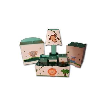 Kit Higiene bebê MDF Safári Bichinhos da Floresta Verde