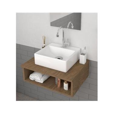 Cuba de Apoio Para Banheiro Retangular 32X30 Cm Delta Branco