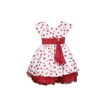 Vestido Infantil Moranguinho Tema Festa Vermelho Aniversário
