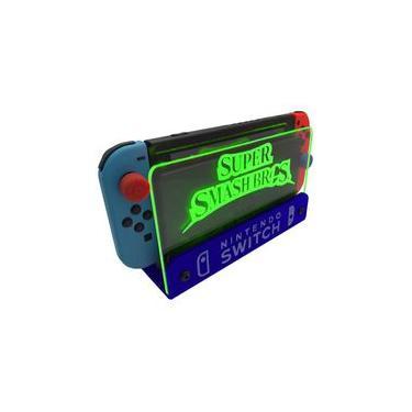 Suporte Bancada/Parede Nintendo Switch Iluminado - Smash Bros - Base Azul LED Verde
