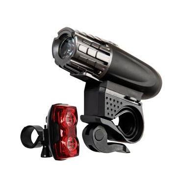 Lanterna LED Recarregável p/ Bicicleta Carregador USB + Sinalizador Traseiro