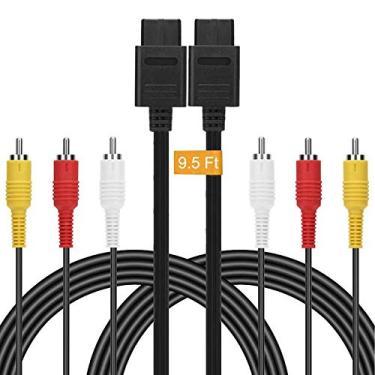 Cabo composto AV – Cabo de áudio retrô de 2,4 m N64 AV de cabo padrão de vídeo de TV para Nintendo 64 jogos de TV HDTV SNES Gamecube GC da FENGWANGLI, 3