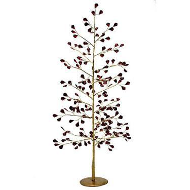 Árvore de Mesa de Metal Dourada e Vermelha Santini Christmas 70cm Red Brilhance