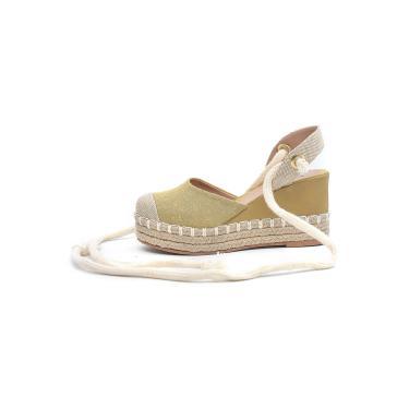 Sandália Plataforma Scarpan Calçados Finos - Juta Amarela  feminino