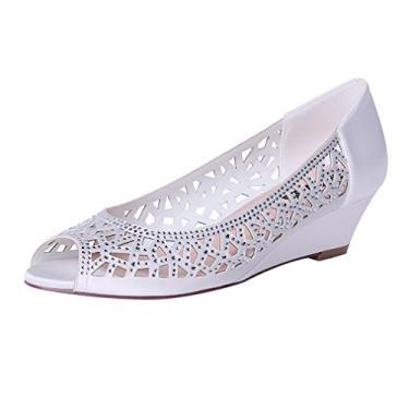 Sapatos de noiva Erijunor femininos Peep Toe salto baixo anabela de casamento strass brilhante, Marfim, 6.5