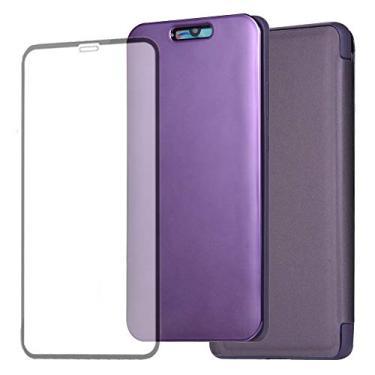 Capa ZOOMALL para iPhone 6 Plus e iPhone 6s Plus 5,5 polegadas, capa espelhada de nova geração com revestimento de silicone líquido integrado com um protetor de tela de vidro temperado gratuito, Apple iPhone 6s / iPhone 6, roxo, Z-HR-6P-07