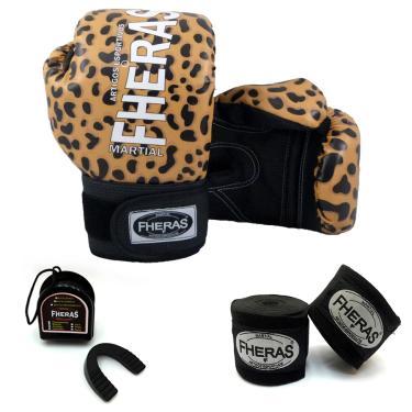 Kit Boxe Muay Thai - Luva Bandagem Bucal 08 OZ Top Onça