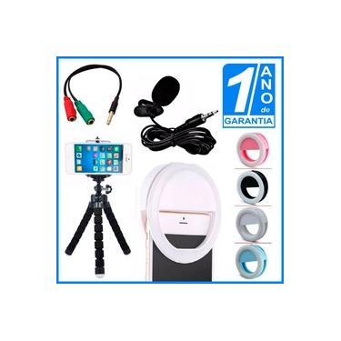 Kit Youtuber Microfone De Lapela Para Celular Smartphone + Flash Led Anel Recarregável + Mini Tripé