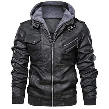 Jaqueta masculina UUYUK de couro PU com capuz e acabamento de zíper, 1, Large